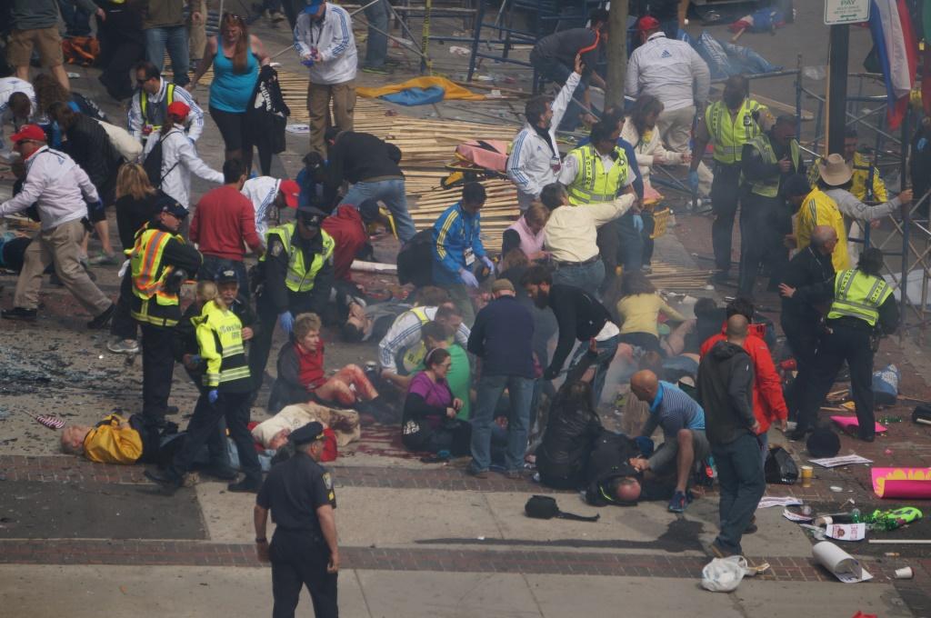 Crowd scene at Boston marathon bombing