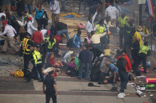 Crowd scene at Boston marathon bombing